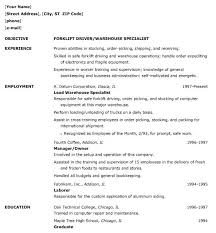 Resume Warehouse Warehouse Resume Samples Experience Resumes