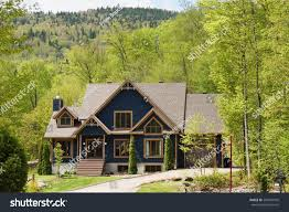 beautiful house cottage hills spring time stock photo 283549505