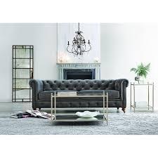 Home Decorators Clearance by Home Decorators Collection Gordon Grey Velvet Sofa 0849400120