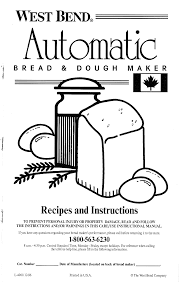 west bend bread maker 41041y user guide manualsonline com