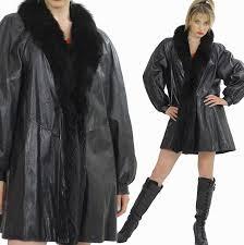 vintage black leather jacket fur trimmed leather stroller coat m