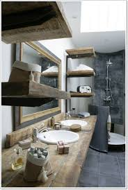 Rustic Bathroom Decorating Ideas Bathroom Cool Rustic Bathroom With Brown Wood Vanity Cabinet