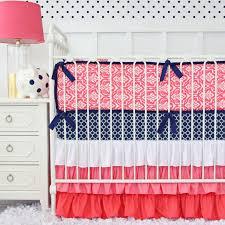Navy And Coral Crib Bedding Nursery Beddings Navy And Coral Baby Bedding Also Navy And
