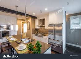 house kitchen interior design pictures modern bright clean kitchen interior stainless stock photo