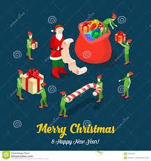 santa gift trolls christmas flat isometric vector winter holiday