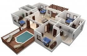 Simple Three Bedroom House Plan Fantastic Simple House Plan With 4 Bedrooms 3d Arts 3d 3 Bedroom
