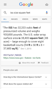 how big is the iss in terms of square feet international space