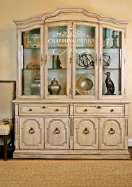 hand painted french provincial thomasville china cabinet white
