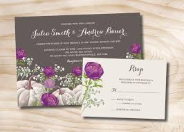 wedding invitations with response cards white pumpkin purple floral fall wedding invitation and response