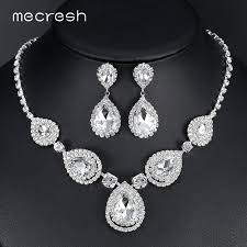 crystal wedding necklace images Mecresh silver color teardrop bridal jewelry sets crystal wedding jpg