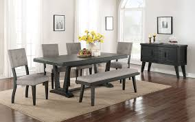 powell turino 5 piece rectangle dining room set in grey oak