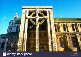 celtic cross on the side of catholic church st s cathedral