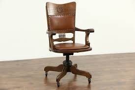 Antique Leather Swivel Chair Sold Oak U0026 Leather Swivel Adjustable Antique Desk Chair Signed