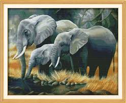 family of elephants stitch diy gift 11ct 14ct cross stitch set