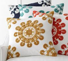 pom pom medallion embroidered pillow cover 20 pottery barn