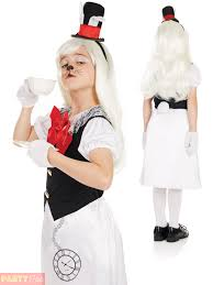 girls mad hatter costume white rabbit fancy dress alice kids book
