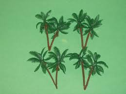 set of 4 plastic small palm trees