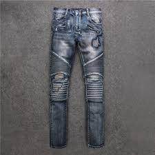 alibaba jeans fake zipper rembelished fall 2016 new wrinkle patch knee hole wind