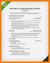 8 resume for security guard self introduce