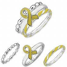 ribbon ring sterling silver stackable expressions yellow awareness ribbon ring