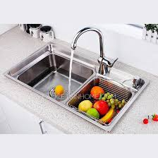 Sink With Double Faucet Nickel Brushed Stainless Steel Kitchen Sinks Double Sinks With Faucets