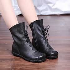 womens boots for flat vintage style genuine leather boots flat booties