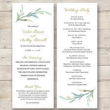 order of wedding program printable greenery wedding program order of service templates to