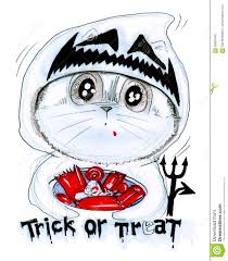 trick or treat halloween cartoon cat pencil sketch stock