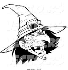 vector of a scary witch laughing black and white line art by