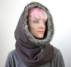 faux fur accessory hooded scarf cowl hood faux fur scarf