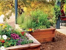 raised box herb garden sunset