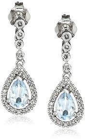 aquamarine drop earrings 14k white gold aquamarine and diamond tear drop