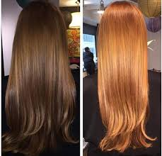 golden apricot hair color transformation pretty brown to bright apricot career modern salon