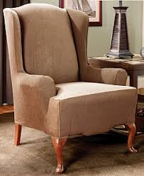 2 Piece Wing Chair Slipcover Sure Fit Stretch Stripe 2 Piece Slipcover Collection Slipcovers