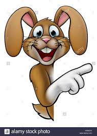 a cartoon rabbit or easter bunny peeking around a sign and
