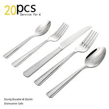 kitchen forks and knives flatware set 20 pieces stainless steel flatware set