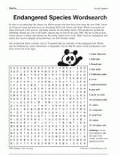 endangered species wordsearch teachervision