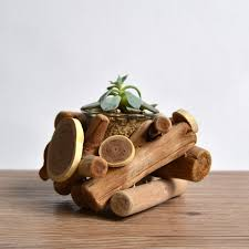 simple 1pcs vintage wood flower pot decorative bonsai