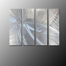 Interior Metal Wall Panels Multi Panel Wall Art Bold Metal Artwork In Silver Pieces