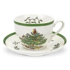 spode christmas tree tea cup and saucer set of 4 spode uk