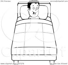cartoon clipart of a black and white happy black boy tucked into