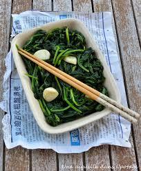 cuisine asiatique recette une aiguille dans l potage epinards sautés à l ail