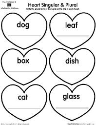 heart singular plural printable worksheet a to z teacher stuff