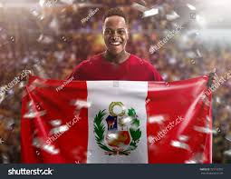 Holding The Flag Peruvian Fan Holding National Flag Stock Foto 731137957 Shutterstock