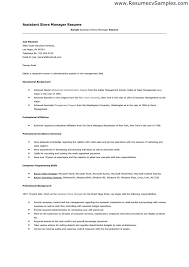 assistant store manager resume assistant manager resume samples