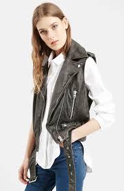 leather biker vest sylvia u0027 leather biker vest nordstrom