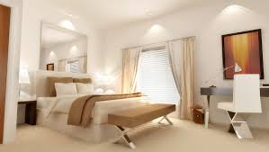 dazzling white bedroom ideas with exciting recessed downlight at