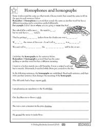 4th grade 5th grade writing worksheets homophones and homographs