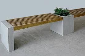 concrete and wood outdoor table outdoor gardens benches outdoor furniture planters plants gardenista