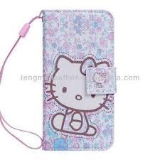Purple Kitty Pu Leather Card Holder Wristlet Wallet Case